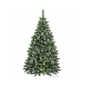 Umělý vánoční stromeček borovice stříbrná s šiškami | 220 cm, husté větvičky borovice jsou vyvinuty tak, aby udržely jakoukoliv vánoční dekoraci.