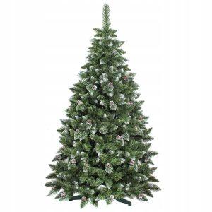Umělé vánoční stromky, umělý vánoční stromeček borovice stříbrná s krystaly ledu a šiškami se stojánkem nebo na kmenu dokáže vyčarovat kouzlo Vánoc.