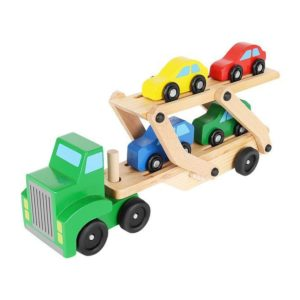 Dřevěný kamion - odťahovka | + sada aut